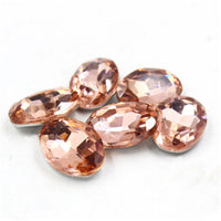 13x18mm Peach Glass Oval Pointback Chatons Rhinestones - 10pcs