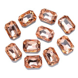 13x18mm Peach Glass Emerald Pointback Chatons Rhinestones - 10pcs