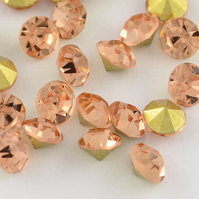 14mm Peach Glass Round Pointback Chatons Rivoli Rhinestones - 10pcs