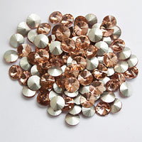 18mm Peach Glass Round Pointback Chatons Rhinestones - 10pcs