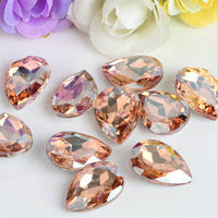 10x14mm Peach Glass Teardrop Pointback Chatons Rhinestones - 10pcs
