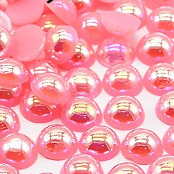 2-10mm Pink AB Resin Round Flat Back Loose Pearls - 1000pcs