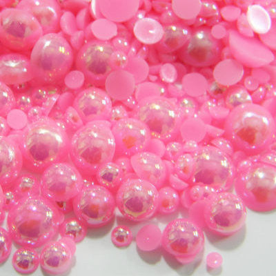 2-10mm Bubble Gum Pink AB Resin Round Flat Back Loose Pearls - 32g/1,000pcs