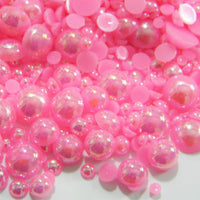 2-10mm Bubble Gum Pink AB Resin Round Flat Back Loose Pearls - 1000pcs