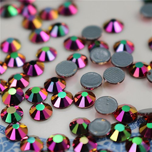 SS16/4mm Rose Gold AB Glass Round Flat Back Loose Rhinestones - 1440pcs