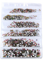 SS3-SS10/1-3mm Rainbow Glass Round Flat Back Rhinestones Mixed Set - 1680pcs