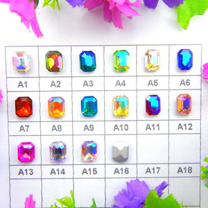 10x14mm AB Glass Emerald Pointback Chatons Rhinestones - 20pcs