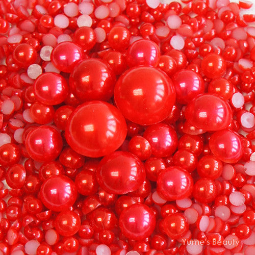 2-10mm Mixed Red Flatback Half Round Pearls - 30 grams / 500 pieces - Loose, Bling, Nail Art, Decoden TDK-P071 - TheDecoKraft