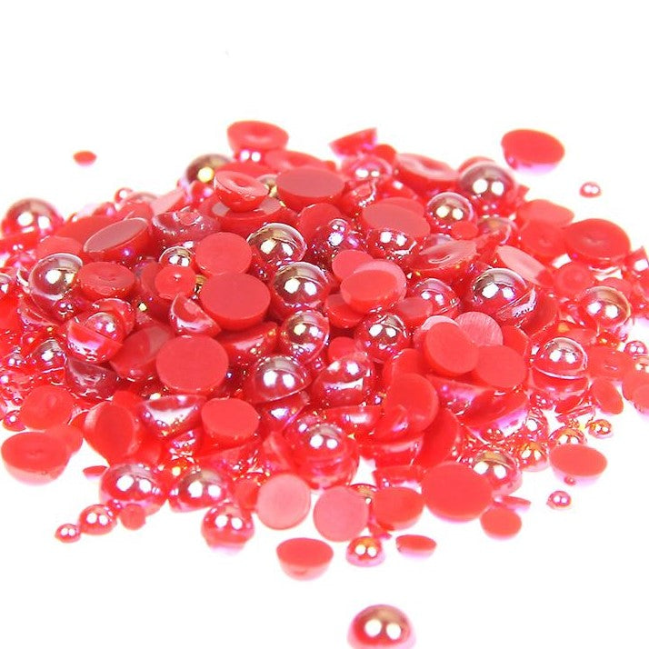 2-10mm Red AB Resin Round Flat Back Loose Pearls - 1000pcs