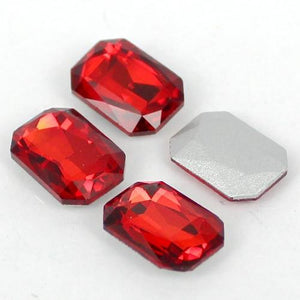 10x14mm Red Glass Emerald Pointback Chatons Rhinestones - 10pcs