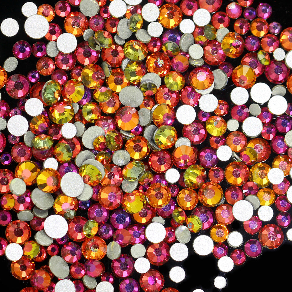SS30/6mm Red Rainbow Glass Round Flat Back Loose Rhinestones - 288pcs