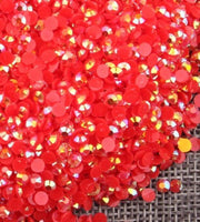 2-6mm Mixed Red Jelly Resin Round Flat Back Loose Rhinestones