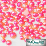 5mm Pink and Orange Ombre Mermaid Gradient Resin Round Flat Back Loose Pearls