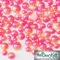 4mm Pink and Orange Ombre Mermaid Gradient Resin Round Flat Back Loose Pearls
