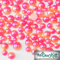 3-6mm Pink and Orange Ombre Mermaid Gradient Resin Round Flat Back Loose Pearls - 1000pcs
