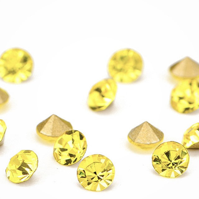 14mm Citrine Yellow Glass Round Pointback Chatons Rhinestones - 10pcs