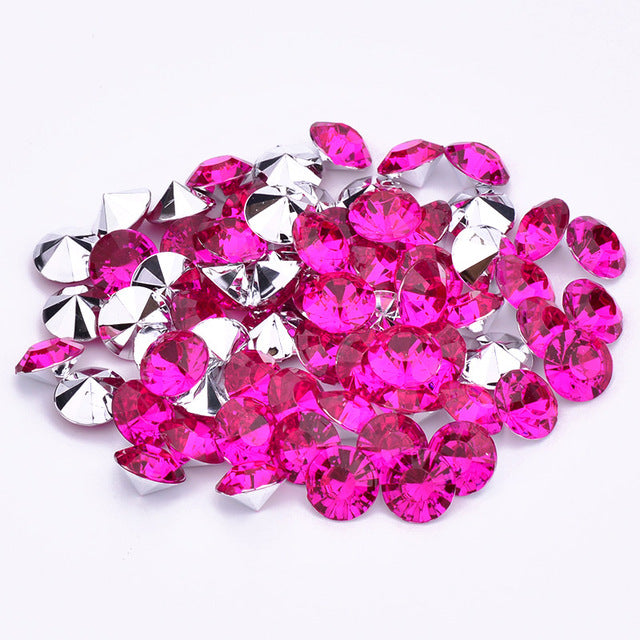 16mm Rose Acrylic Round Pointback Chatons Rhinestones - 25pcs