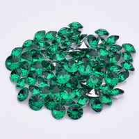16mm Emerald Green Acrylic Round Pointback Chatons Rhinestones - 25pcs