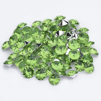 16mm Light Green Acrylic Round Pointback Chatons Rhinestones - 25pcs