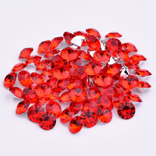 16mm Red Acrylic Round Pointback Chatons Rhinestones - 25pcs
