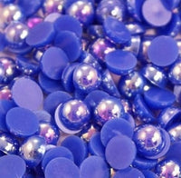 2-10mm Mixed Royal Blue AB Flatback Half Round Pearls - 30 grams / 500 pieces - Loose, Bling, Nail Art, Decoden TDK-P060 - TheDecoKraft
