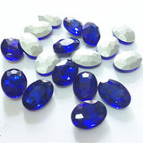 13x18mm Royal Blue Glass Oval Pointback Chatons Rhinestones - 10pcs