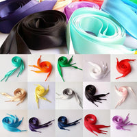 Shoe Laces 63 inch/160cm (l) x 3/4 inch/2cm (w) Satin Flat Ribbon Shoes Hair Accessory