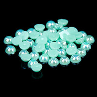 10mm Seafoam Green AB Resin Round Flat Back Loose Pearls - 500pcs