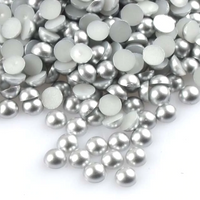 2-10mm Mixed Silver Matte Resin Round Flat Back Loose Pearls - 1000pcs