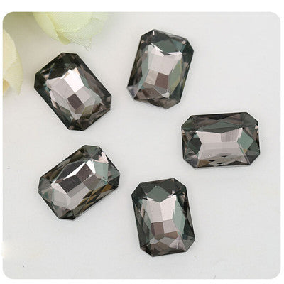 13x18mm Smoky Gray Glass Emerald Pointback Chatons Rhinestones