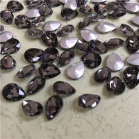 13x18mm Smoky Gray Glass Teardrop Pointback Chatons Rhinestones