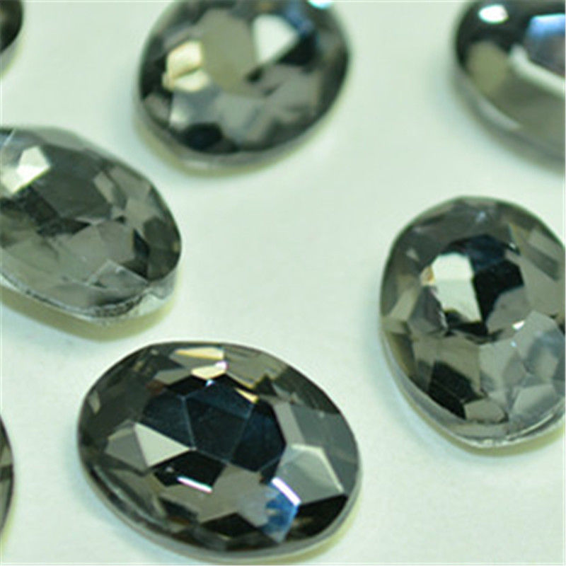 13x18mm Smoky Gray Glass Oval Pointback Chatons Rhinestones - 10pcs