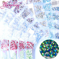 SS3-SS10/1-3mm Emerald AB Glass Round Flat Back Rhinestones Mixed Set - 1680pcs