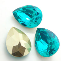 13x18mm Aqua Acrylic Teardrop Pointback Chatons Rhinestones - 25pcs