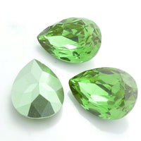 13x18mm Light Green Acrylic Teardrop Pointback Chatons Rhinestones - 25pcs