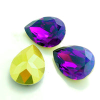 13x18mm Purple Acrylic Teardrop Pointback Chatons Rhinestones - 25pcs