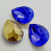 13x18mm Royal Blue Acrylic Teardrop Pointback Chatons Rhinestones - 25pcs
