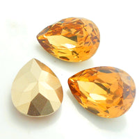 13x18mm Topaz Acrylic Teardrop Pointback Chatons Rhinestones - 25pcs