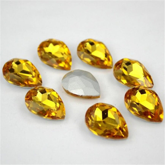 13x18mm Topaz Glass Teardrop Pointback Chatons Rhinestones - 10pcs