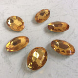 13x18mm Topaz Glass Oval Pointback Chatons Rhinestones - 10pcs