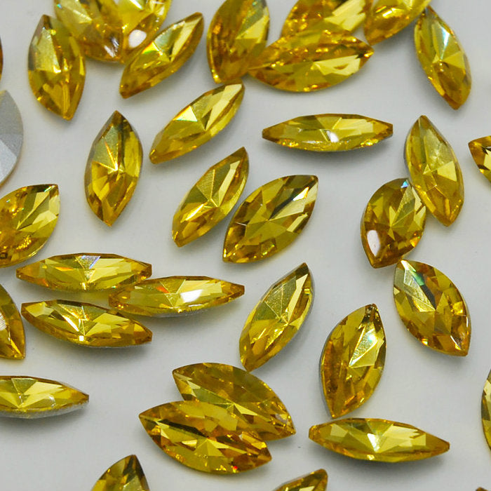 13x27mm Topaz Glass Marquis Pointback Chatons Rhinestones - 10pcs
