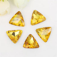 18mm Topaz Glass Triangle Pointback Chatons Rhinestones - 10pcs