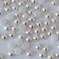 5mm White AB Ceramic Round Flat Back Loose Pearls - 5000pcs