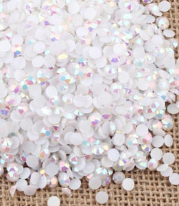 2-6mm Mixed White AB Jelly Resin Round Flat Back Loose Rhinestones