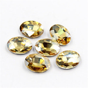 20x30mm Champagne Glass Oval Pointback Chatons Rhinestones