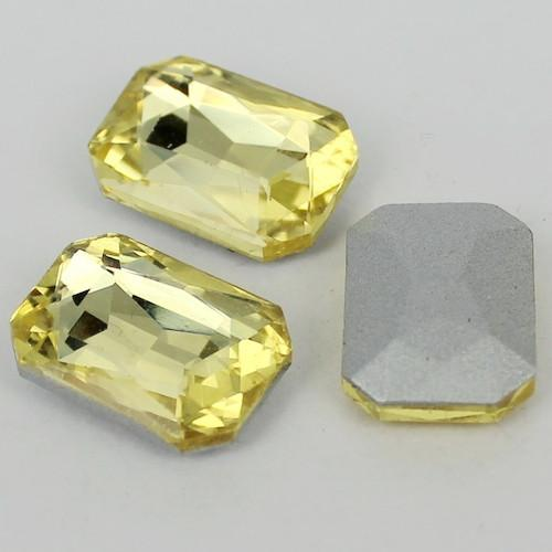 13x18mm Yellow Glass Emerald Pointback Chatons Rhinestones - 10pcs
