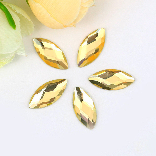 9x18mm Yellow Glass Marquis Pointback Chatons Rhinestones - 10pcs