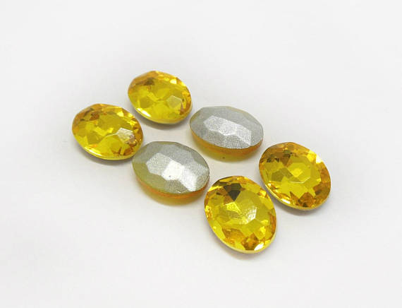 13x18mm Yellow Glass Oval Pointback Chatons Rhinestones - 10pcs