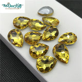 10x14mm Yellow Glass Teardrop Pointback Chatons Rhinestones - 10pcs