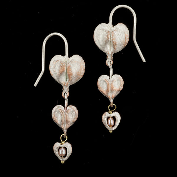 Bleeding Heart Earrings - Wire Double Drop